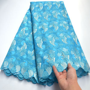 2020 New arrival nigerian lace fabrics sky blue cotton swiss voile lace in Switzerland for men and women clothes 5yard/lot mv362(China)
