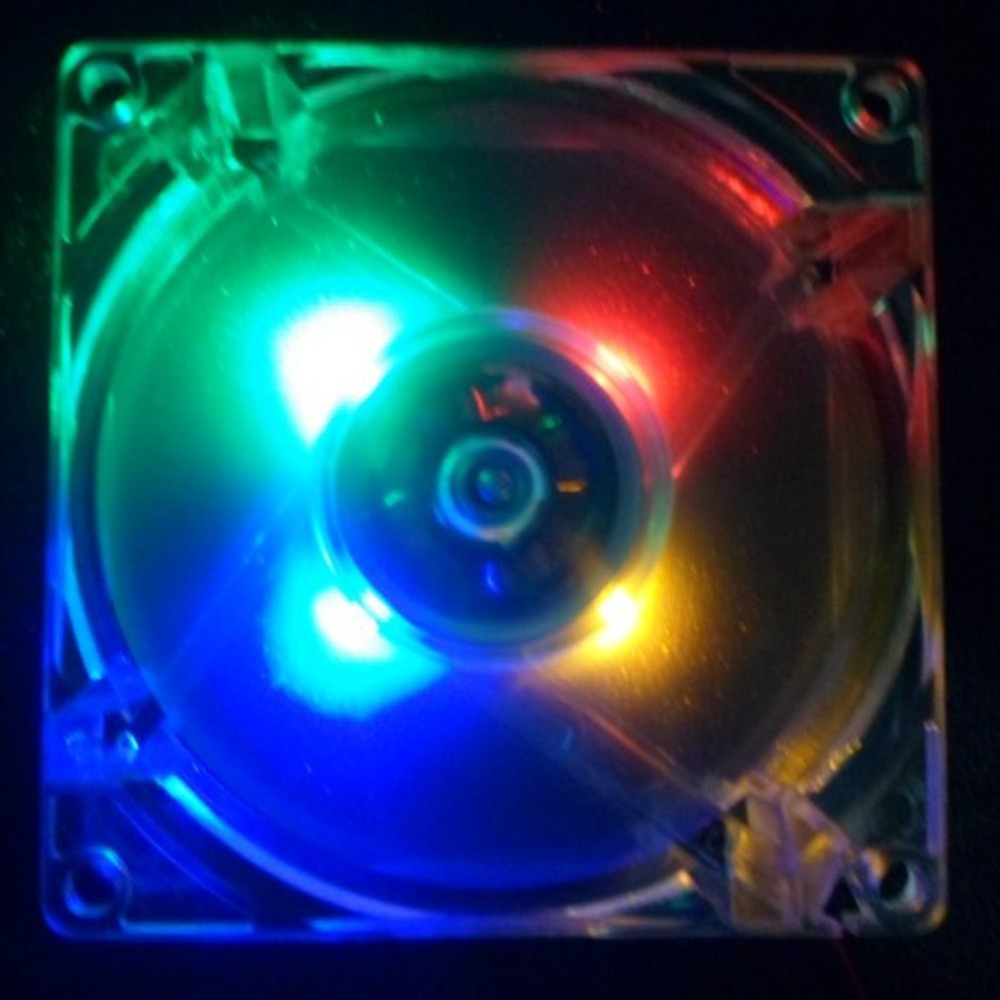 12V 0.20A 80 x 80 x <font><b>25</b></font> <font><b>mm</b></font> Computer <font><b>fan</b></font> 4 LED Silent PC Computer Case Cooler Cooling <font><b>Fan</b></font> Mod blue and colorful light image