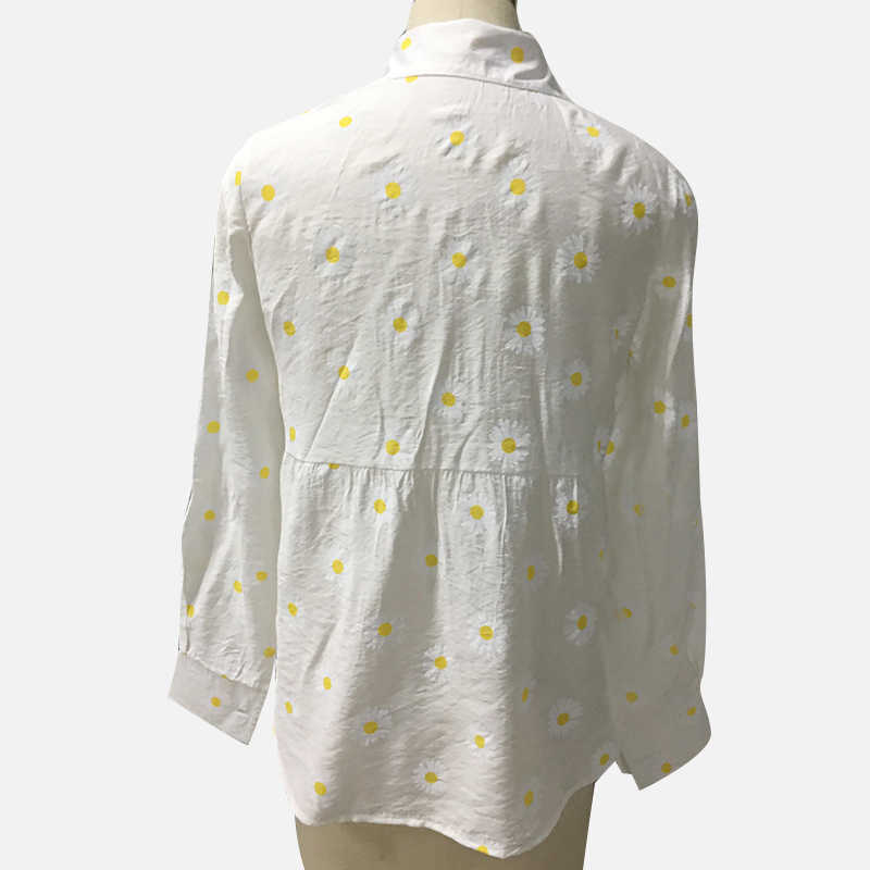 レディーススモールヒナギクシャツ長袖プリント白シャツボタンvネックカーディガントップス 2020 夏秋特大シャツ