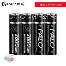 PALO New 1.5 V Li-ion Rechargeable battery 1.5V AA battery 3000 mAh AA batteries for Clocks, mice, computers, toys so on