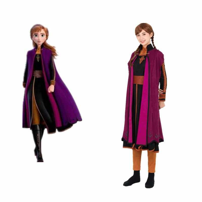 2019 Película Frozen 2 Princesa Anna Elsa Cosplay Disfraz