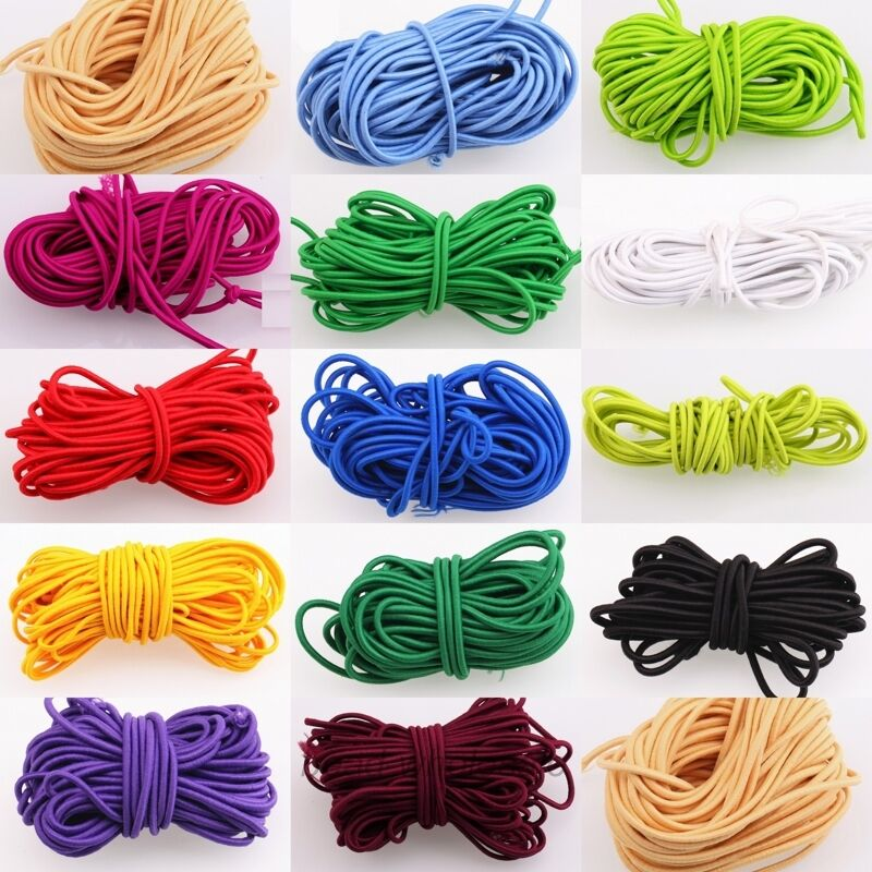 5M/bag 13 Colors 3mm Round Elastic Thread Cord Rope Rubber Band Elastic Line For DIY Jewelry Making Sewing Accessories
