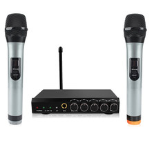 Archeer sistema de microfone sem fio bluetooth vhf canais duplos handheld sistemas mini portátil cantar karaoke mixer