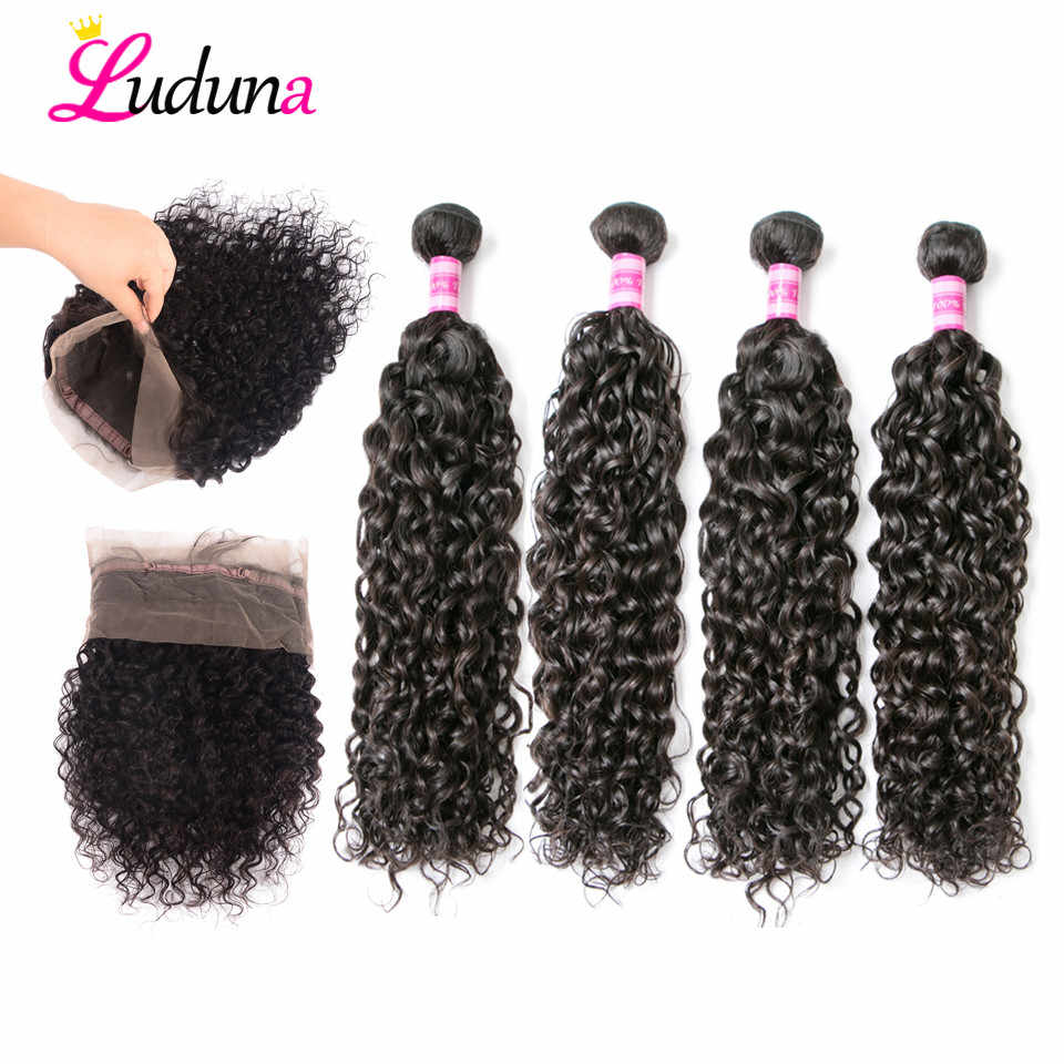 360 Lace Frontal With Bundle Brazilian Water Wave Hair Weave 4 Bundles With Frontal Closure Luduna Remy Human Hair Bundles Deals