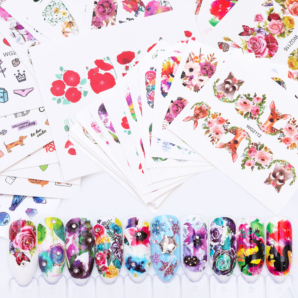 20-Manicure Water Sticker Watercolor Flower Stickers DOG'S Head Moltres Cactus Animal Food Flower Series WG Set