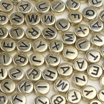 Cuentas acrílicas de oro variado para fabricación de joyas, collar de pulsera hecho a mano, con letras del alfabeto planas redondas, 200/300/500 Uds.