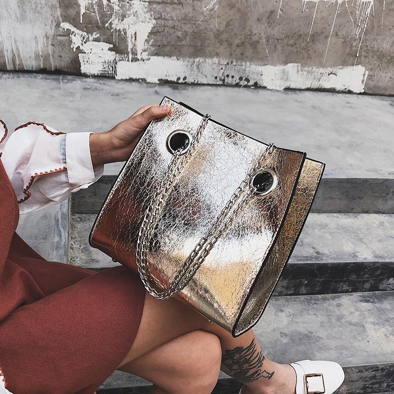 Big Tote Female Bag Burst Crack Chain Shoulder Messenger Bag PU Leather Rivet Large Capacity Mobile Ladies Bags For Women 2018