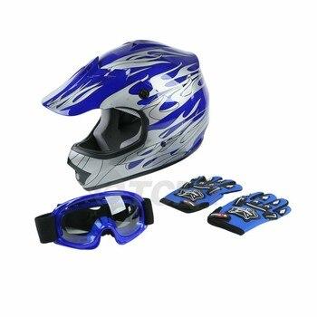 DOT Motorcycle Youth Kids Child helmet full face motocross casco moto Off-road Street Goggles Gloves Bike helmets ATV capacete 12