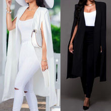 Women Elegant Blazer Poncho Contrast Binding Open Front Cape Long Sleeve Workwear Blazer White Black Longline Coats Outerwear(China)