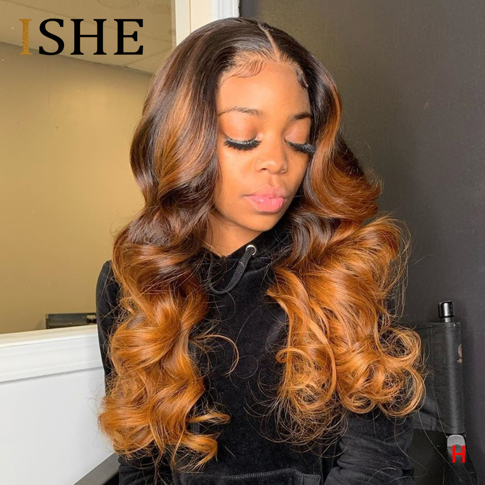 Полноразмерные парики из человеческих волос Honey блонд, цветные 360 парики на сетке спереди, с эффектом омбре, 13x4, парики из человеческих волос ...