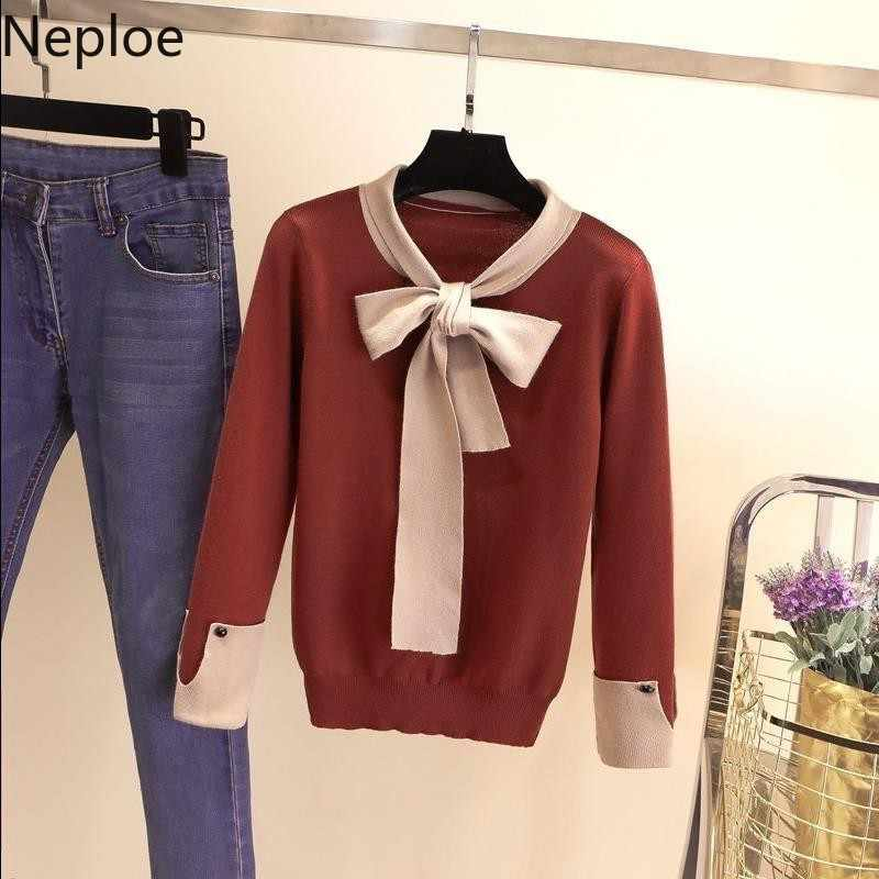 Neploe suéter feminino slim, blusão de malha elástica fofo para mulheres, coreano, feminino, para outono e inverno, 2020