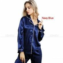 Женский комплект шелковых атласных пижам с длинными рукавами и пуговицами, пижамы, одежда для сна