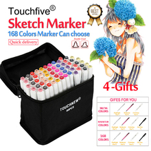 TouchFive Marker 30/40/60/80/168 Colors pen Brush pen Alcoholic Oily based ink Art Marker For Manga Dual Headed Sketch Markers touchfive 36 48 60 72 colors artist double headed marker set oily alcoholic sketch art markers pen for animation manga design