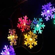 СВЕТОДИОДНАЯ Гирлянда со снежинками сказочные огни на солнечных