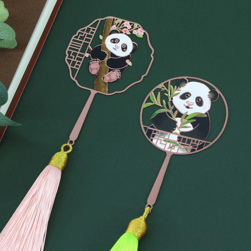 1 Pcs Cute Chinese Style Panda Bamboo Peach Blossom Tassel Metal Pendant Bookmarks Hollow Book Marker Stationery School Gifts