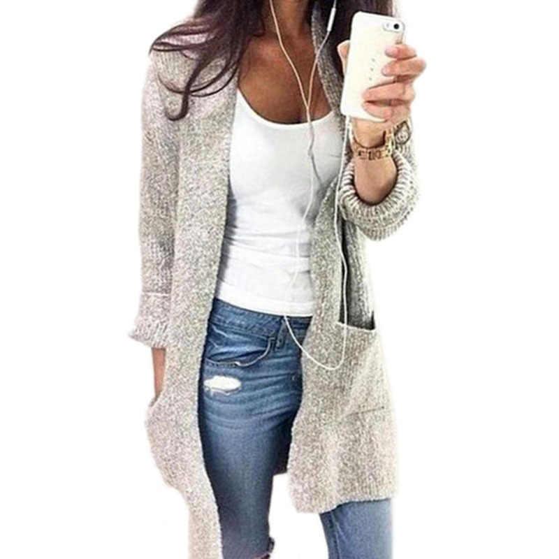 Cárdigan mujer suéter Casual abrigo nuevo 2019 lana otoño invierno largo cárdigan suelto sólido cárdigan femenino cálido suéteres de felpa
