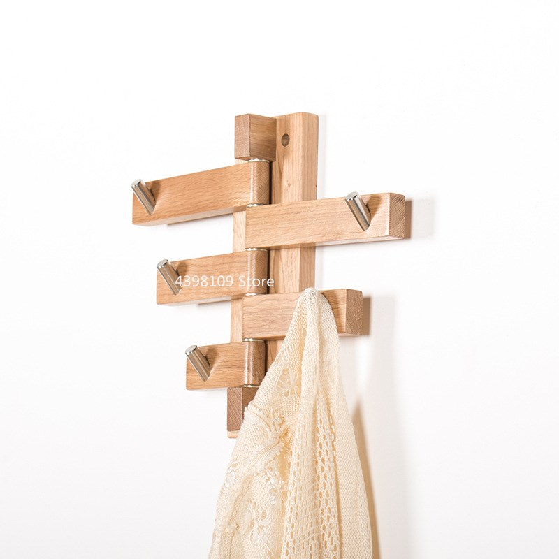 Chêne crochet rotatif mur cintre salon porche vêtements rangement crochet simple rotatif crochet manteau crochet