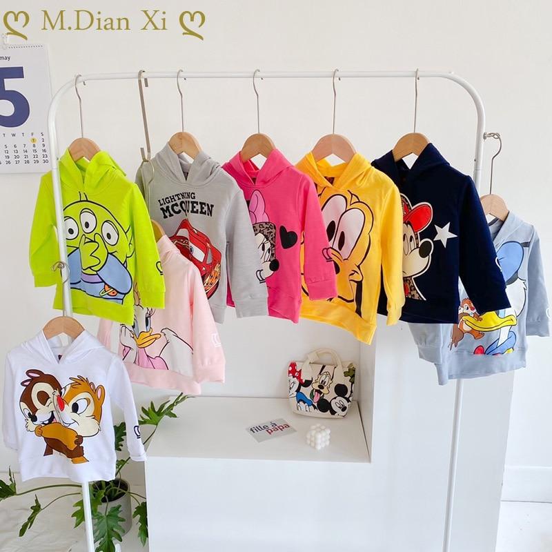 İlkbahar sonbahar yeni erkek kız karikatür Minnie ince kapüşonlu süveter bebek batı tarzı kapşonlu karikatür dip çocuk giyim