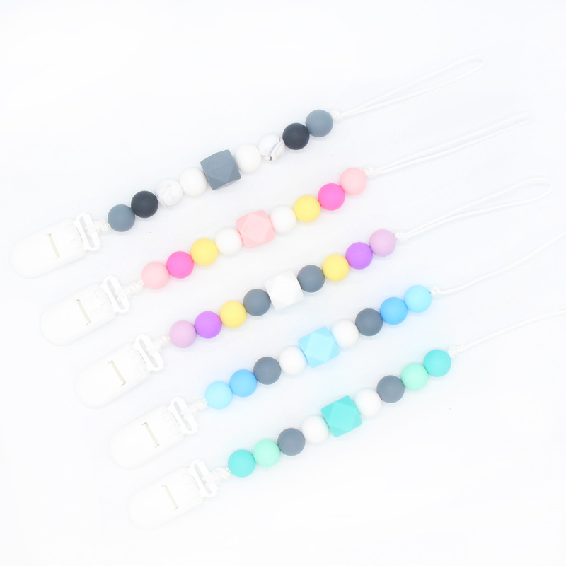 Pacifier Clips Holder Chain Silicone Pacifier Chains Baby Teething Chain Nipple Teether Chain For Dummies Plastic Infant Nipple