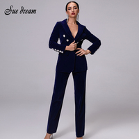2019 New Women's Luxury Dark Blue Velvet Long sleeved Crystal Diamond Buckle Jacket & Trousers 2 Pieces Two piece Christmas Coat