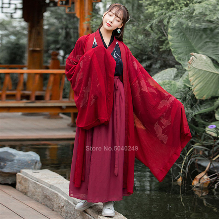 Traditional Chinese Costume Crane Women Folk Hanfu Dress Vintage Party Men Dance Costume Fancy Ancient Costume Fairy Cosplay
