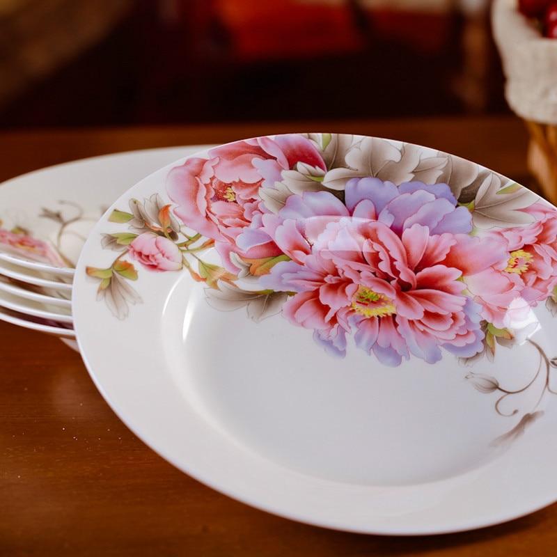 Vaisselle en porcelaine porcelaine 8 * pouce | Ensemble de vaisselle chinoise en céramique, assiettes de soupe profonde, assiettes de Sushi 6 pièces/ensemble - 3