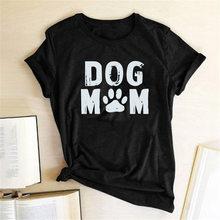 Köpek anne baskılı tişört kadın komik tee gömlek femme O boyun gevşek yaz t shirt Harajuku estetik üstleri rahat kadın kıyafetleri