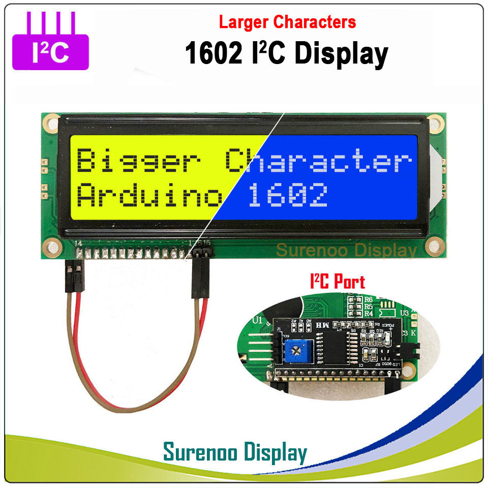 Serial IIC / I2C / TWI 1602 162 16*2 Larger Character LCD Module Display Yellow Green Blue With Backlight For Arduino