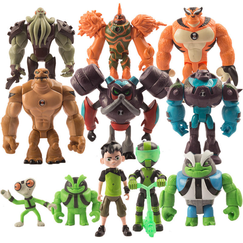 10 Pcs PVC Action Figure Ben Tennyson Four Arms Grey Matter Kineceleran Diamondhead Heatblast Humongousaur Rath Vilgax Kids Toys