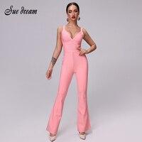 Bandage Jumpsuit Summer 2019 New Pink Sexy V Neckline High Quality Jumpsuits Bandage Women Rayon Bandage Jumpsuit