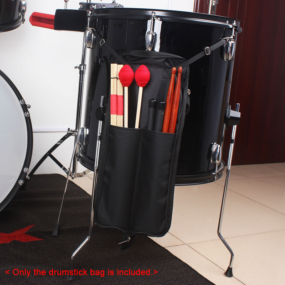 Drum Stick Bag Case 600D Waterproof Zipper Storage Carry Malletbag Portable Musical Instrument Accessories Black