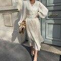 2021 летние вечерние женские средней длины платье плиссированное платье с рукавами-фонариками для особых случаев Женское платье на весну в К...