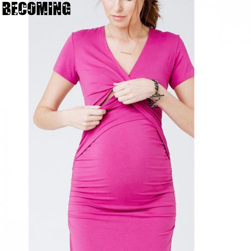 Pregnant Dress Plus Size Dress Striped Short Sleeve Round Neck Pregnancy Skirt Nursing Dress  Maternity Breastfeeding Dress Bc25