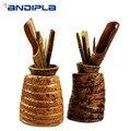 Tee Zeremonie 6 Herren Natürliche Bambus Wurzel Chahe Tee Scoop Schaufel Nadel Puller Clip Tee Siebe Kanister Stift Halter Tee set|Teeschaufeln|   -