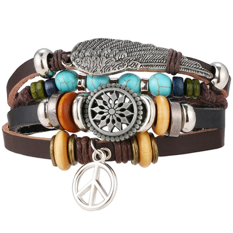IFMIA New Vintage Wing Leather Bracelet for Men Woman Fashion Black Color Multiple Braided Bracelets Jewelry Gift Wholesale