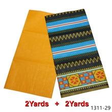 Free shipping African Wax Fabric 2 yards+2 yards 100% polyester fabric wax print ghana brocade 1311