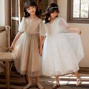Image 4 - Yeni 2020 yaz örgü çocuk kız elbise çocuk dantel elbise kızlar için bebek prenses elbise yıldız çocuk sevimli elbise düğün, #8011