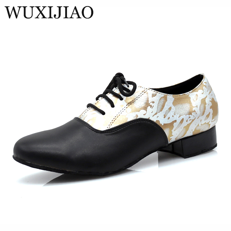 WUXIJIAO New Style Men's Latin Dance Shoes Modern Men's Dance Hall Tango Dance Shoes Sports Shoes Jazz Blue Gold PU Dance Shoes
