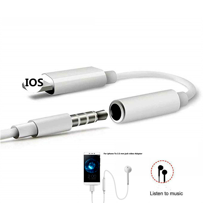 For IPhone To 3.5MM Headphone Jack Adapter Aux Lighting Plug Audio Music Play For IPhone 7 8 Plus X XR XS Max Earphone Adaptador