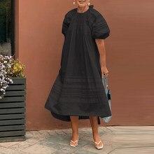 Robe mi-longue ample 2021 VONDA femmes grande taille Robe élégante bohème Robe d'été Robe décontractée à manches courtes robes de vacances