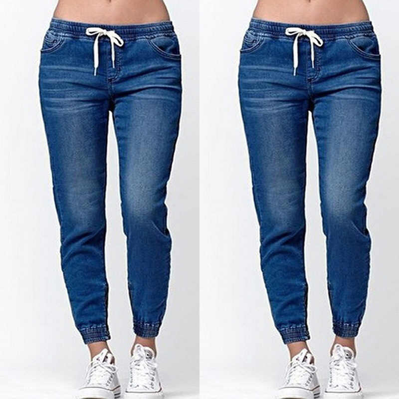 Vita Medio Signore Lanterna Jeans 2020 Nuove Donne di Estate di Autunno di Modo di Skinny Casual Dei Jeans con Coulisse di Alta Qualità Semplice Paio di Jeans