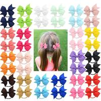 "40Pcs 2"" Grosgrain Ribbon Pigtail Hair Bows Elastic Hair Ties Hair Bands Holders Hair Accessories for Baby Girls Infants Toddler"