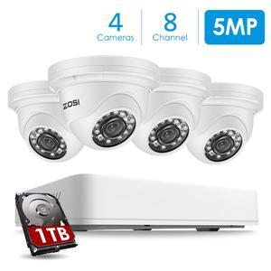 ZOSI-système de vidéosurveillance de sécurité | Caméra Super HD 5mp H.265 DVR 8CH avec 1 to et 4 pièces, Kit de vidéosurveillance étanche pour l'extérieur/l'intérieur