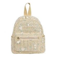 5PCS / LOT Straw Woven Backpack Women Fashion Mini Backpack Travel bag Shoulder Bag Hand-Woven Summer Beach Knapsack