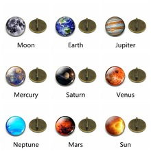 Galaxy Planet Pins Solar System Moon Earth Sun Glass Brooch Badge for Women Shirt Bag Decoration Outer Space Jewelry