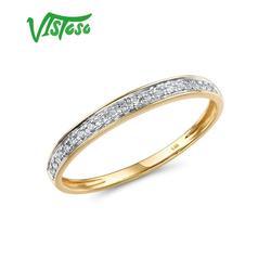 VISTOSO Anelli D'oro Per La Signora Genuino 14K 585 Oro Giallo Scintillante Anello di Diamanti Anelli di Fidanzamento Promessa Anniversario Gioielleria Raffinata