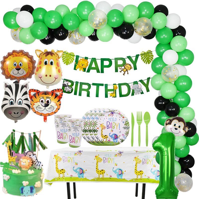Jungle Party Decoration Lion Tiger Foil Balloons Disposable Tableware Paper Plate Cup Napkin Safari Zoo Party Supplies