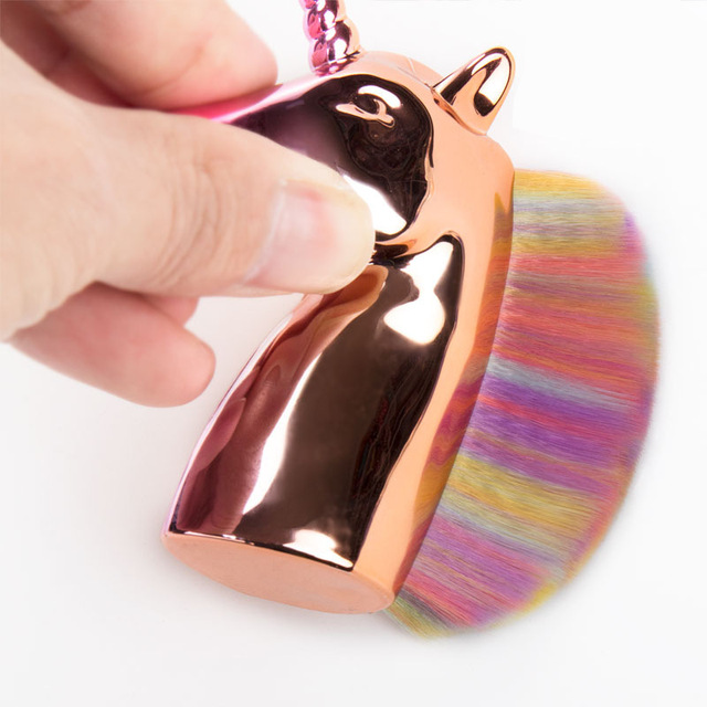 Makeup brushes unicorn powder foundation brush Plating handle Holder For Powder Foundation Blush Contour Big Make up Beauty Tool 4