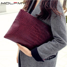 Women Clutches Bolsa Evening-Bags Crocodile-Pattern Luxury Ladies PU Envelope Day Party