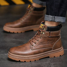 Men PU Leather Boots Comfortable Winter Warm Shoes Male Moto